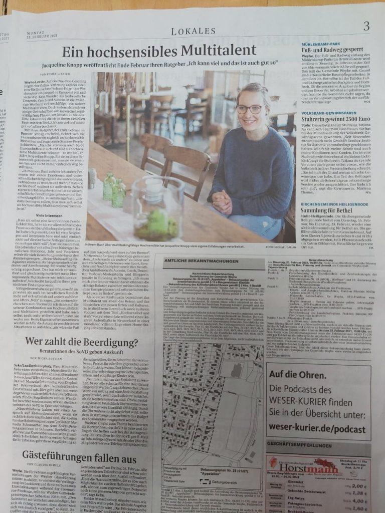 Komfortzone verlassen als Erfolg: Ein Zeitungsartikel zu meinem Buch ist erschienen